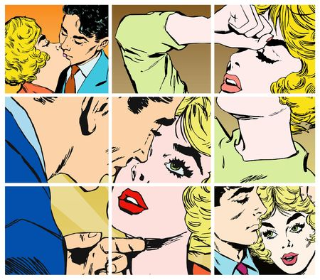 comic strip: collection of portraits of young couples in love Stock Photo