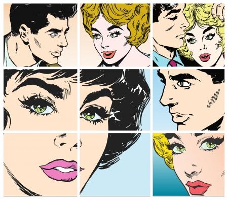 愛の若いカップルの肖像画のコレクション