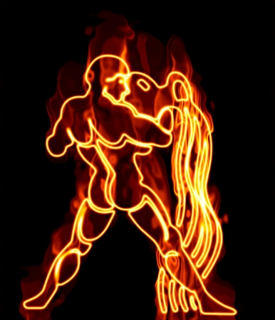 zodiac signs: Collection of zodiac signs engulfed in fire