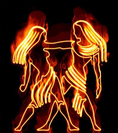 Het verzamelen van sterrenbeelden in beslag genomen door brand Stockfoto