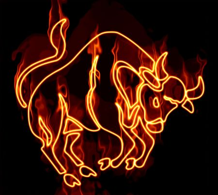 Collection of zodiac signs engulfed in fire