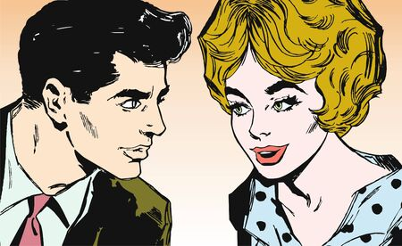 comic strip: Portrait of a couple of lovers, looking into the eyes