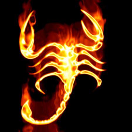 白い背景の上に火に囲まれた Escorpion 写真素材