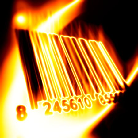 encode: Barcode surrounded by fire on a black background Stock Photo