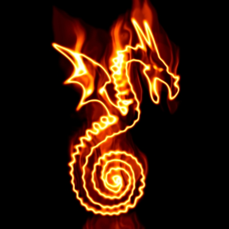 dragón rodeado por el fuego sobre un fondo blanco Foto de archivo