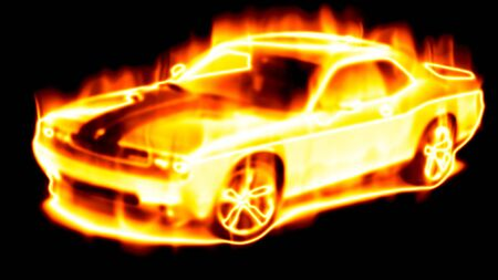 Car surrounded by flames on a black background photo
