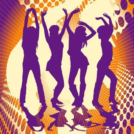 chicas divirtiendose: Las ni�as divertirse y bailar en una fiesta