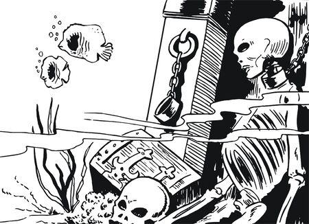 esqueleto humano: Esqueleto humano en ruinas submarinas
