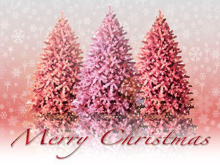 木々 と雪のクリスマス風景のイラスト