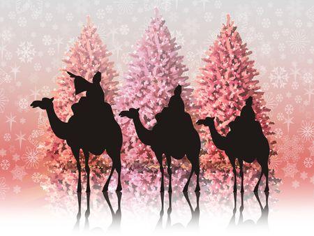 reyes magos: Paisaje de Navidad con los tres reyes magos Foto de archivo
