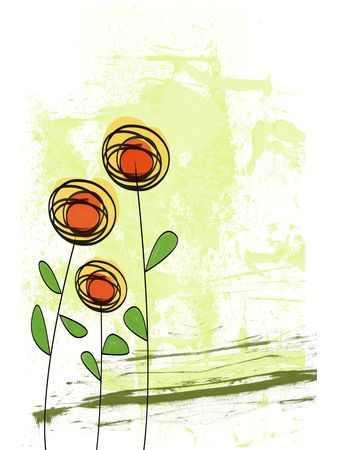 Illustration of a Flower Landscape on a white background Stock Photo