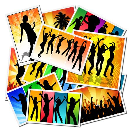 Illustrations with girls dancing at a party illustration