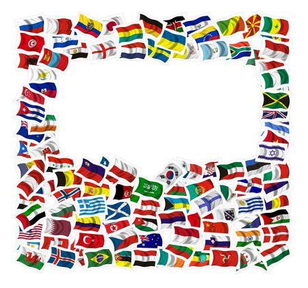 allen: Collectie van vlaggen op een achtergrond van knutselen met