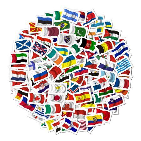 negocios internacionales: Colecci�n de Banderas sobre un fondo withe Foto de archivo