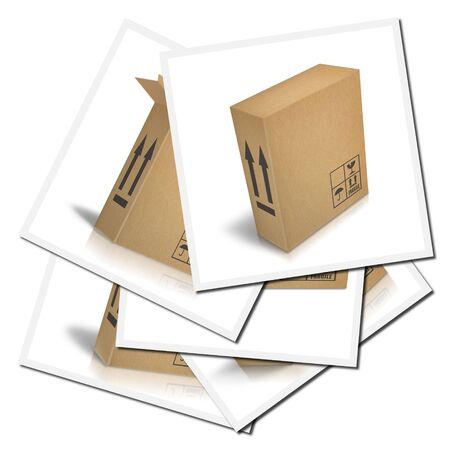 Illustrations of corrugated cardboard boxes ready for transport illustration