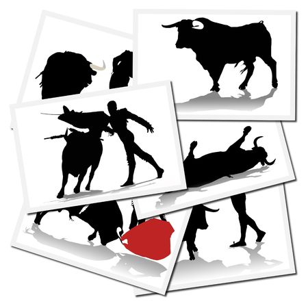 bullfighter: Collection of illustrations with a bullfighter in action, spain Stock Photo