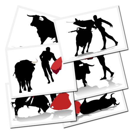 Collection of illustrations with a bullfighter in action, spain Stock Illustration - 6071107