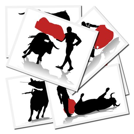 Collection of illustrations with a bullfighter in action, spain illustration