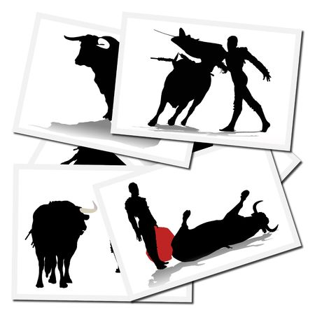 Collection of illustrations with a bullfighter in action, spain Stock Illustration - 6071087