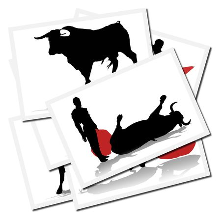 torero: Collection of illustrations with a bullfighter in action, spain Stock Photo
