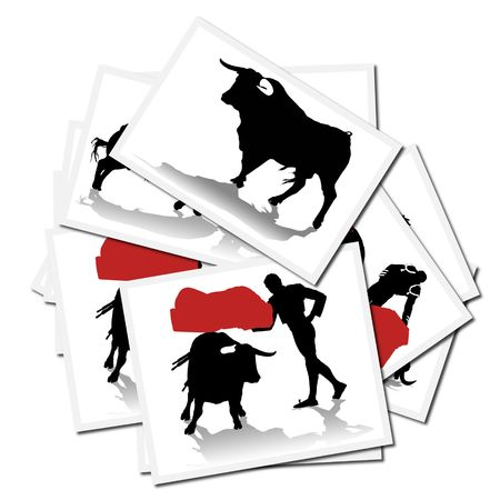 animal cruelty: Collection of illustrations with a bullfighter in action, spain Stock Photo