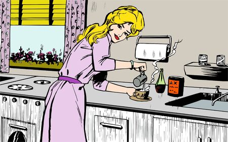 house wife: Woman cooking at home Stock Photo