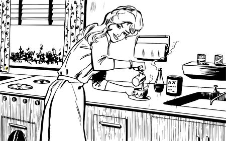 Woman cooking at home photo
