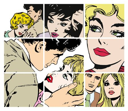 Stock Illustrations with several pairs of lovers Stock Illustration - 7008391