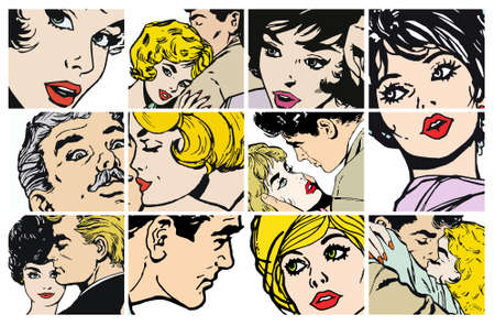 love kiss: Stock Illustrations with several pairs of lovers
