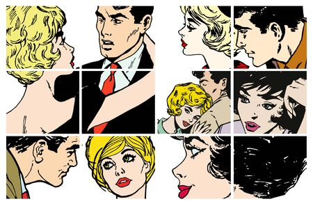 Stock Illustrations with several pairs of lovers Stock Illustration - 7008399