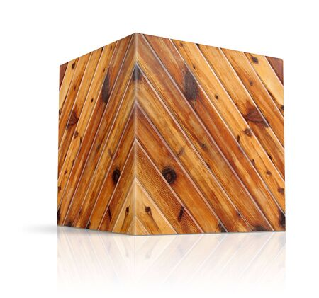 wood cuts: cubes in different types of wood