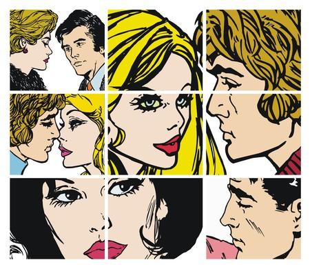 白い背景の上の愛のカップルとイラスト集