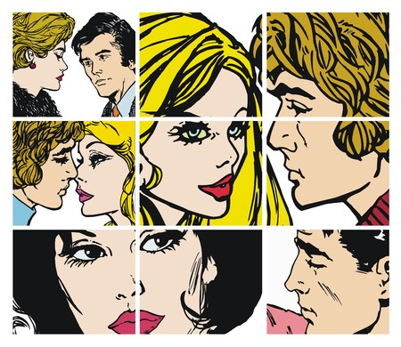enamorados caricatura: Colecci�n de ilustraciones con parejas de enamorados sobre un fondo blanco