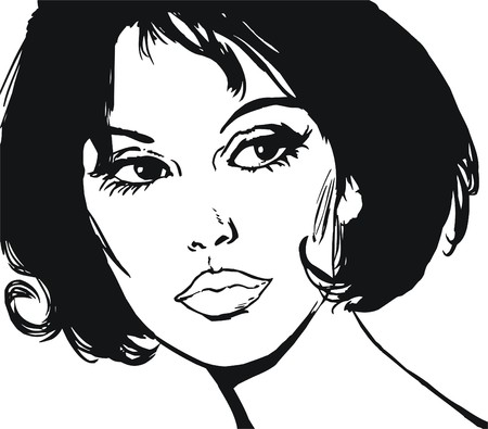 illustration of the face of a beautiful woman on a white background illustration