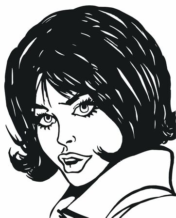 illustration of the face of a beautiful woman on a white background Stock Illustration - 7677272