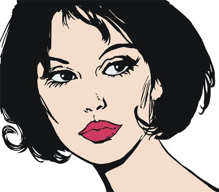 illustration of the face of a beautiful woman on a white background Stock Illustration - 7677264