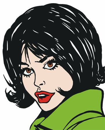 illustration of the face of a beautiful woman on a white background Stock Illustration - 7677273
