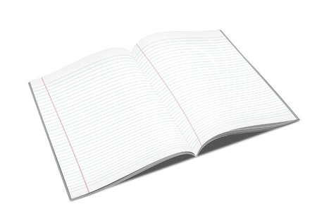 3d illustration of lined notebook on a white background on a white background Stock Illustration - 7677267