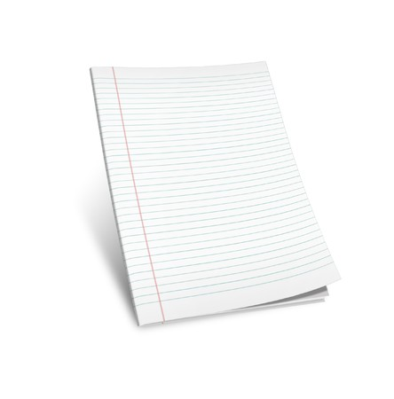 3d illustration of lined notebook on a white background on a white background Stock Illustration - 7677263