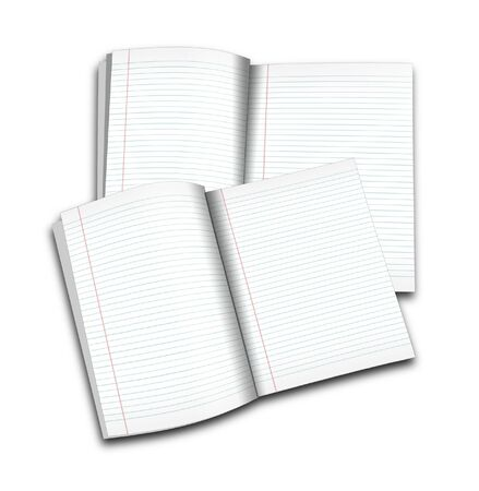 3d illustration of lined notebook on a white background on a white background Stock Illustration - 7677269
