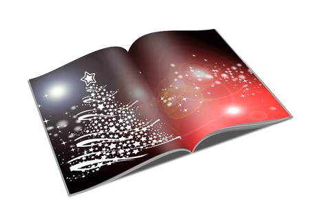 3d render christmas notebook on a white background