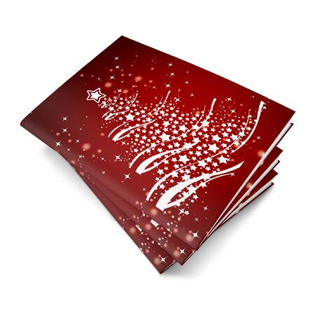 3d render christmas notebook on a white background photo