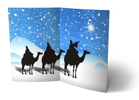 3D christmas postcards on a white background photo