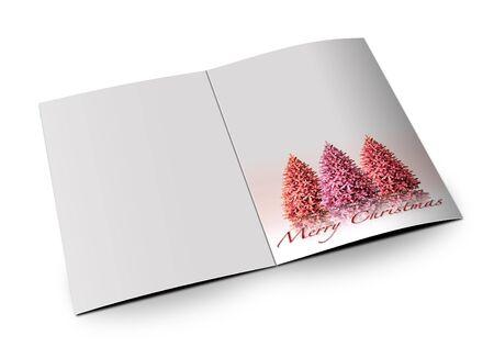 白い背景の上の 3 D クリスマス ポストカード 写真素材
