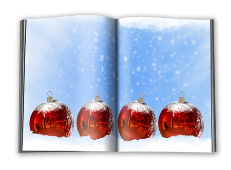 3d render christmas book on a white background photo