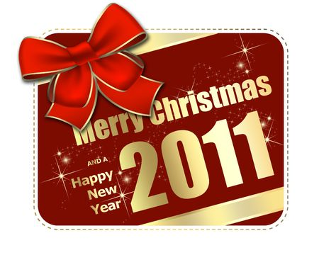 赤の弓と、グリーティング カード、クリスマス 写真素材
