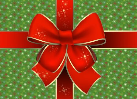 Christmas gift package with a red bow photo