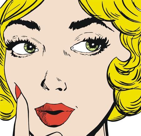 古い漫画スタイルで描かれた、美しい女性の顔