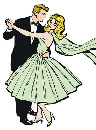Illustration of a couple dancing, drawn with old comic style illustration