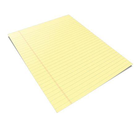 黄色の葉を持つノートブックの 3 d イラストレーション